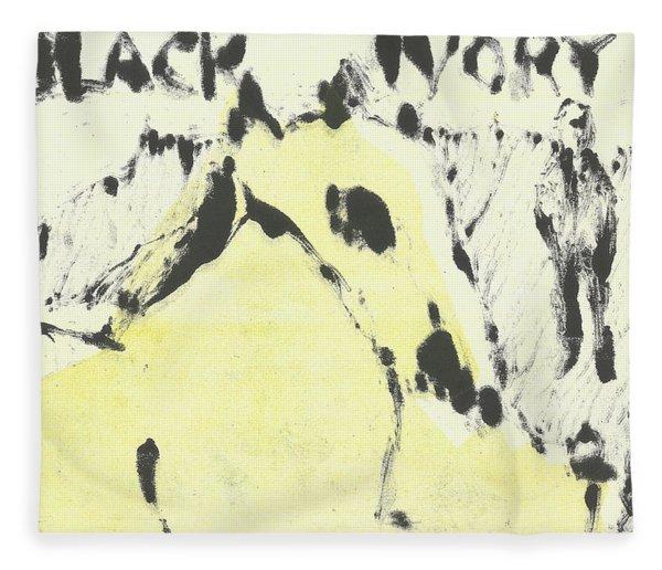 Dog At The Beach - Black Ivory 1 Fleece Blanket