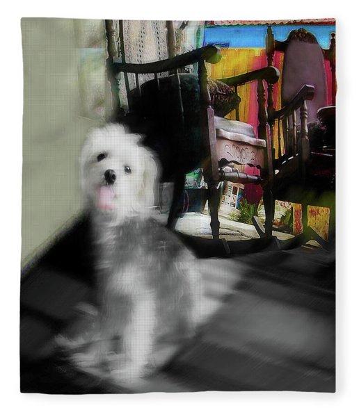 Dogie In The Patio Art  Fleece Blanket