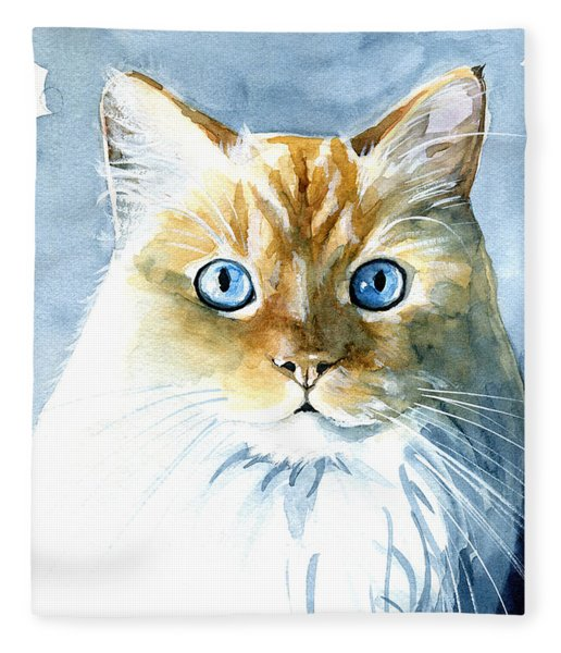 Doll Face Flame Point Himalayan Cat Painting Fleece Blanket