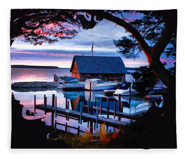Door County Anderson Dock Sunset Fleece Blanket