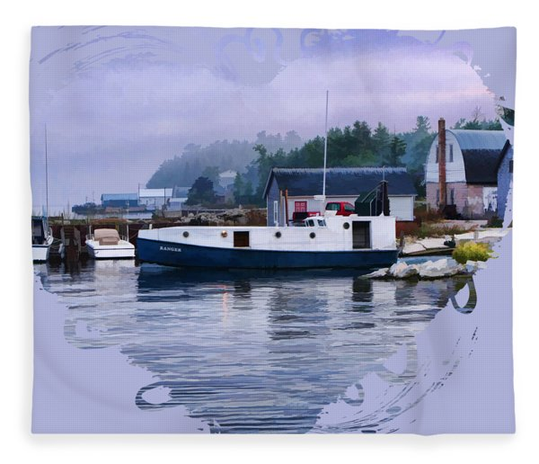 Door County Gills Rock Fishing Village Fleece Blanket