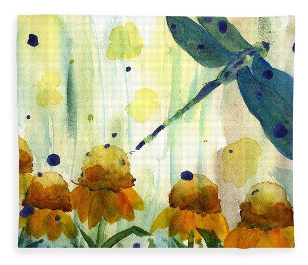 Dragonfly In The Wildflowers Fleece Blanket