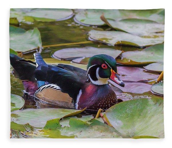 Drake Wood Duck Fleece Blanket