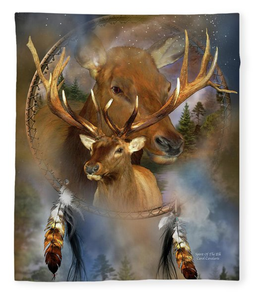 Dream Catcher - Spirit Of The Elk Fleece Blanket