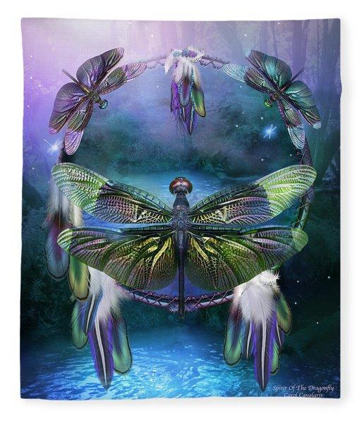 Dream Catcher - Spirit Of The Dragonfly Fleece Blanket