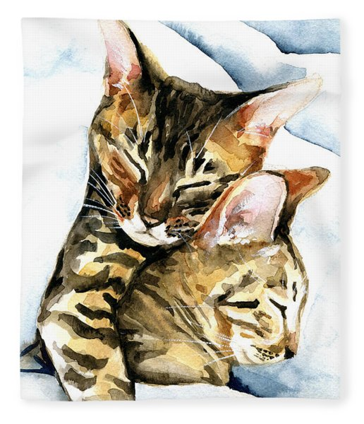 Dreamland - Bengal And Savannah Cat Painting Fleece Blanket