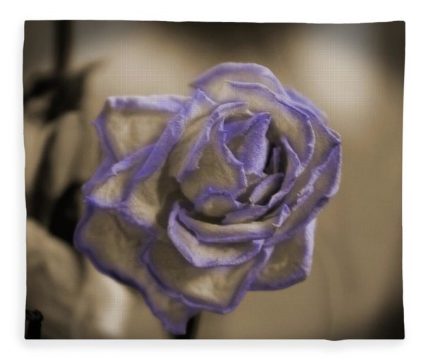 Dried Rose In Sienna And Ultra Violet Fleece Blanket