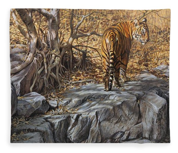 Fleece Blanket featuring the painting Dry, Hot And Irritable by Alan M Hunt