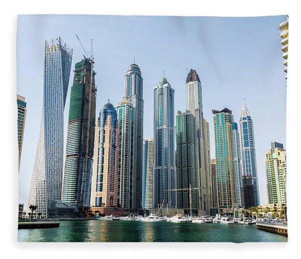 Dubai Marina Fleece Blanket
