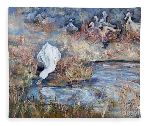 Ducks. Split Opposite Colour Harmony.  Fleece Blanket