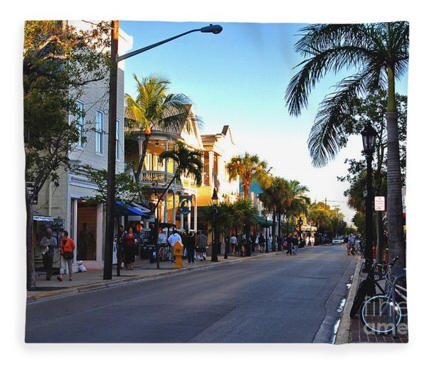 Duval Street In Key West Fleece Blanket