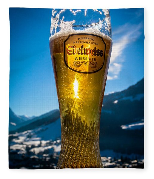 Edelweiss Beer In Kirchberg Austria Fleece Blanket