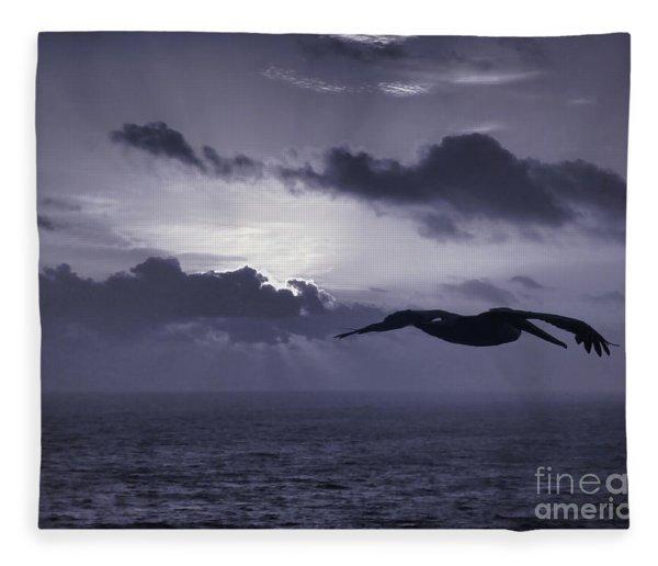 Pelican At Sunrise Fleece Blanket