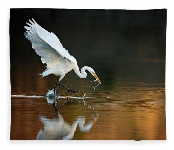 Egret At Sunset Fleece Blanket