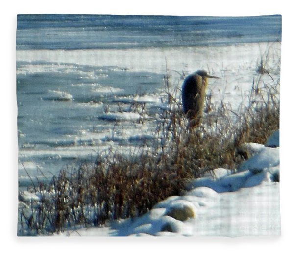 Egret Frozen Lake Fleece Blanket