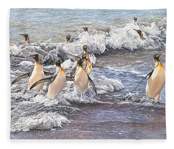 Fleece Blanket featuring the painting Emperor Penguins by Alan M Hunt