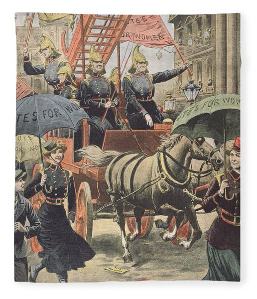 English Suffragettes Dressed As Firemen Fleece Blanket