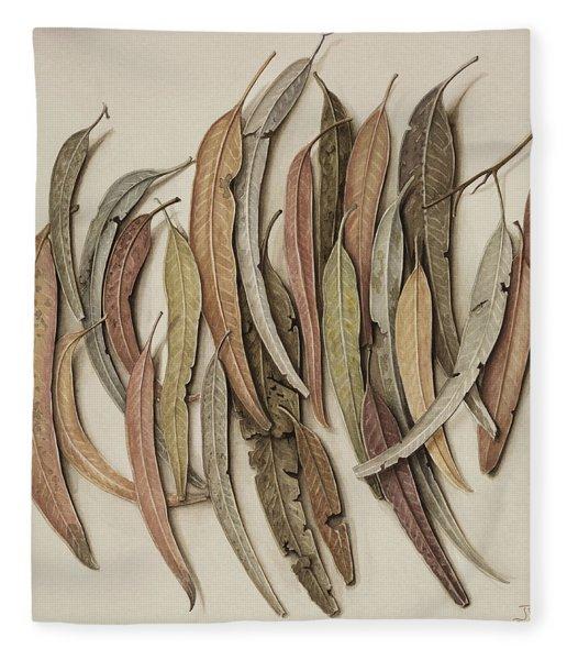 Eucalyptus Leaves Fleece Blanket