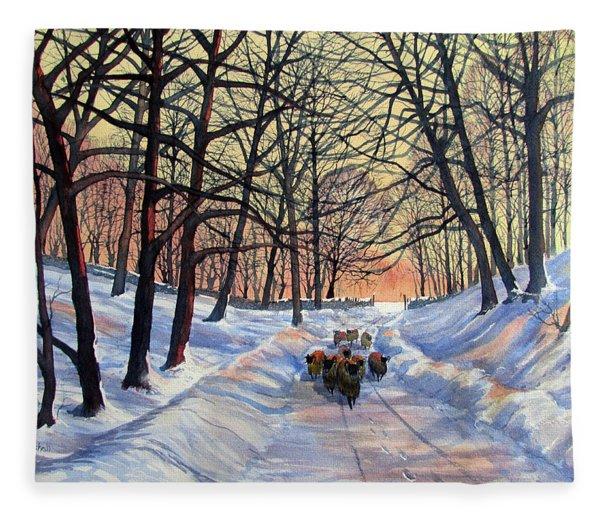 Evening Glow On A Winter Lane Fleece Blanket