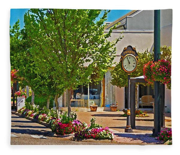 Fairhope Ave With Clock Looking North Up Section Street Fleece Blanket