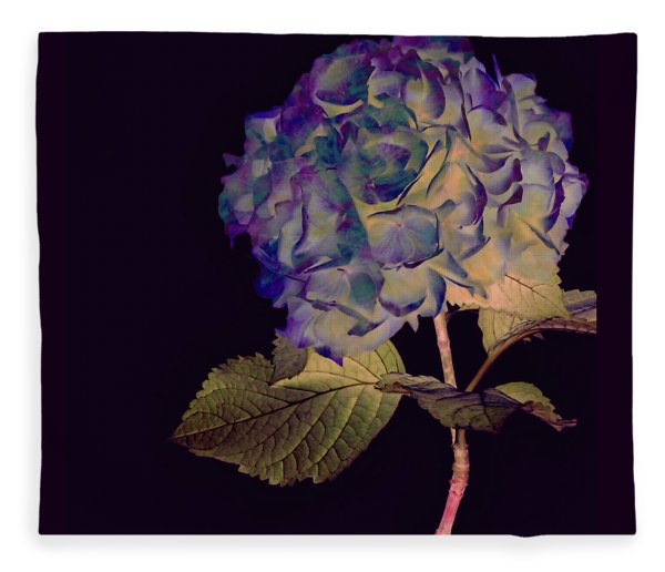 Fleece Blanket featuring the mixed media Fairy Hydrangea by Susan Maxwell Schmidt