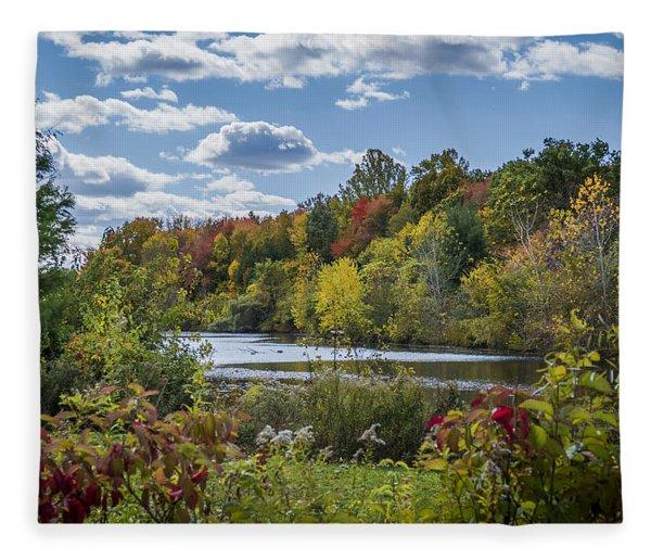 Fall Time On The Lake Fleece Blanket