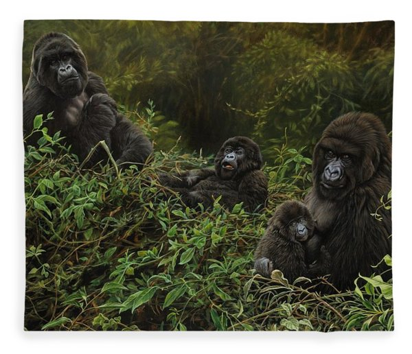 Fleece Blanket featuring the painting Family Of Gorillas by Alan M Hunt