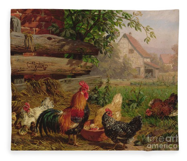 Farmyard Chickens Fleece Blanket