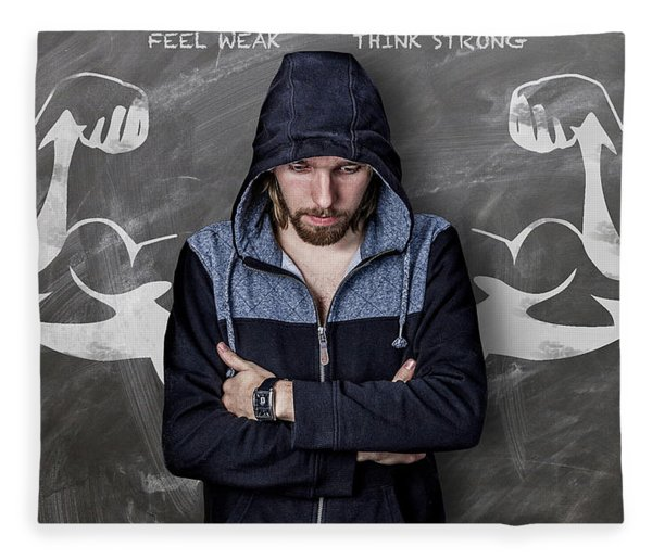 Fleece Blanket featuring the photograph Feel Weak Think Strong by ISAW Company