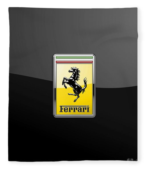 Ferrari 3d Badge- Hood Ornament On Black Fleece Blanket