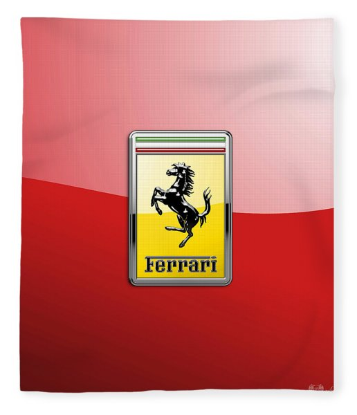 Ferrari 3d Badge-hood Ornament On Red Fleece Blanket