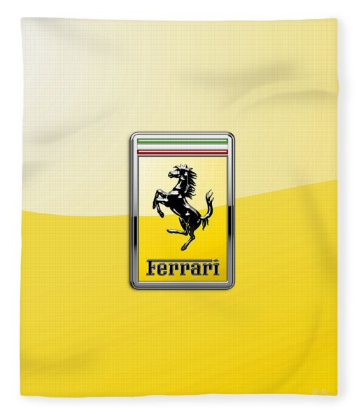 Ferrari 3d Badge- Hood Ornament On Yellow Fleece Blanket