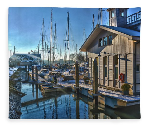 Ferry Harbour In Winter Fleece Blanket