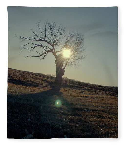 Field And Tree Fleece Blanket