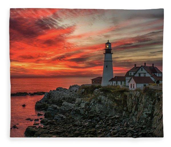 Fiery Sunrise At Portland Head Light Fleece Blanket