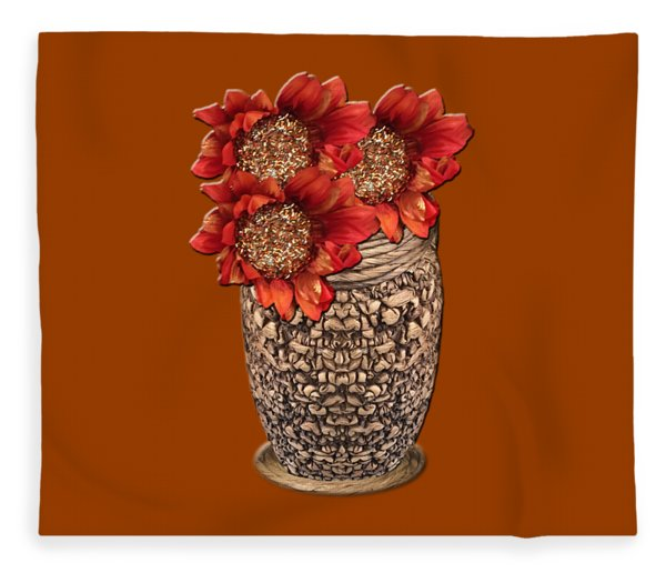 Fire Brick Flora Vase Fleece Blanket