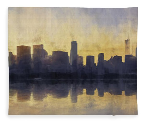 Fire In The Sky Chicago At Sunset Fleece Blanket