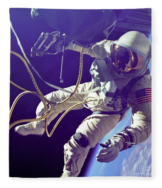 First American Walking In Space, Edward Fleece Blanket