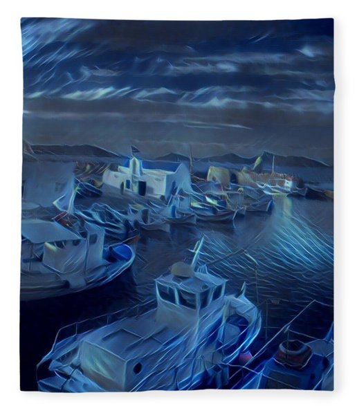 Fleece Blanket featuring the photograph Fish Harbour Paros Island Greece by Colette V Hera Guggenheim