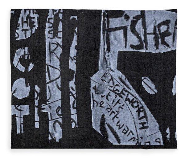 Fisher Covers White On Black Fleece Blanket