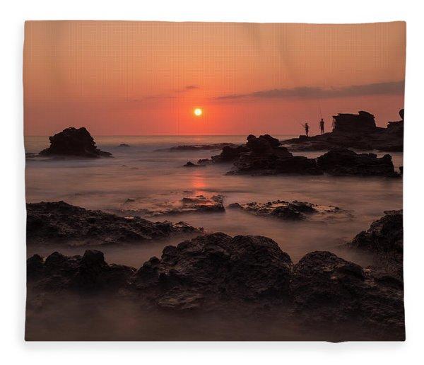 Fishermen At Sunset Fleece Blanket