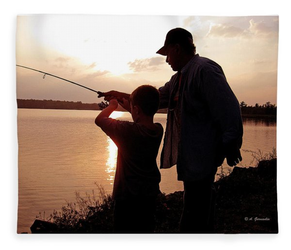 Fishing At Sunset Grandfather And Grandson Fleece Blanket