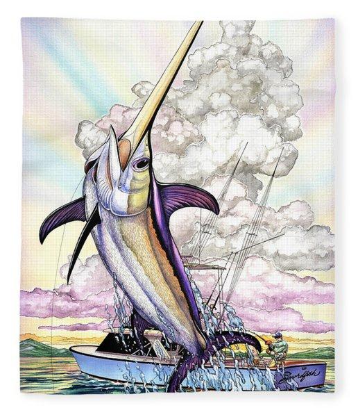Fishing Swordfish Fleece Blanket