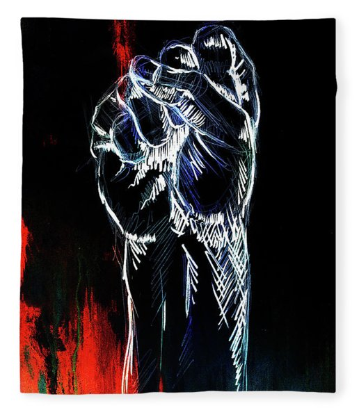 fist drawing, pencil sketch on paper, Color effect.  Fleece Blanket