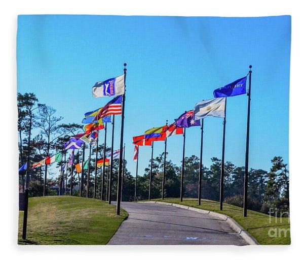 Flags Of Tpc Sawgrass Fleece Blanket