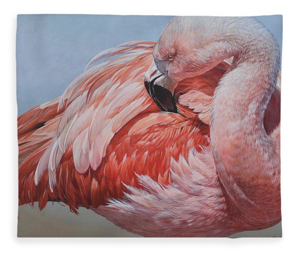 Fleece Blanket featuring the painting Flamingo Preening by Alan M Hunt