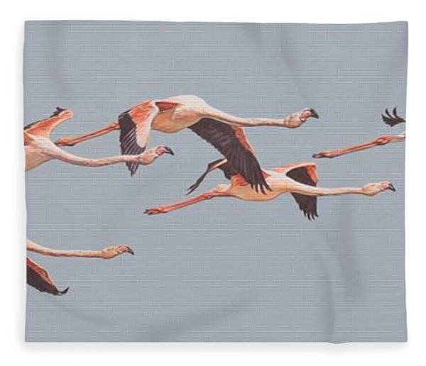 Fleece Blanket featuring the painting Flamingos In Flight by Alan M Hunt