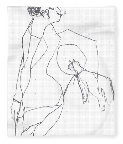 Fleeing Woman Fleece Blanket