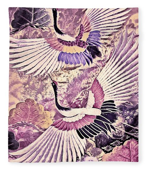 Fleece Blanket featuring the tapestry - textile Flight Of Lovers - Kimono Series by Susan Maxwell Schmidt