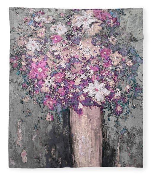 Floral Abstract - Reverse - Modern Impressionist Palette Knife Work Fleece Blanket